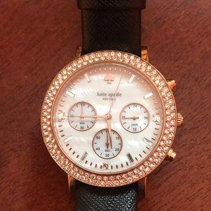 EUC Kate Spade crystal bezel watch - rose gold